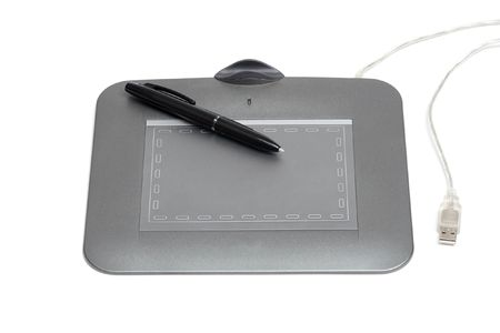 Graphic tablet and pen on a white background Stock Photo