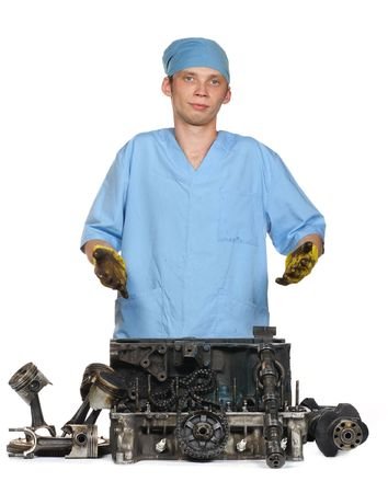 The person has stopped to assort the automobile engine