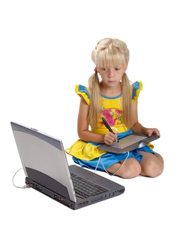 little finger: The girl with a graphic tablet and a portable computer Stock Photo
