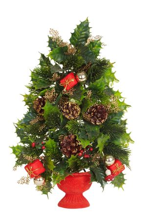Decorative celebratory fur-tree on a white background Stock Photo