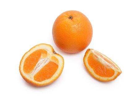 The whole orange and the cut orange on a white background Stock Photo