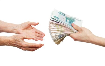 Hand with money and two hands on a white background Stock Photo