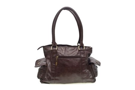 eather: brown leather bag over white background