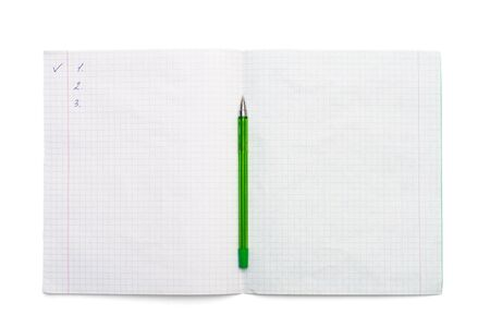 Writing-book for records and a pen on a white background Stock Photo - 6024372