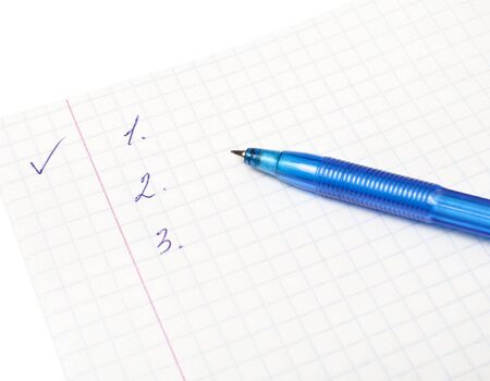 Writing-book for records and a pen on a white background Stock Photo - 6024373