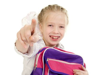 The girl with a schoolbag it is isolated on a white background