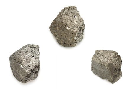 Iron nuggets pyrite are isolated on a white background Stock Photo