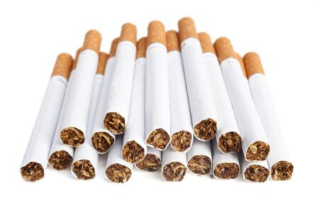 Cigarettes with the filter are isolated on a white background