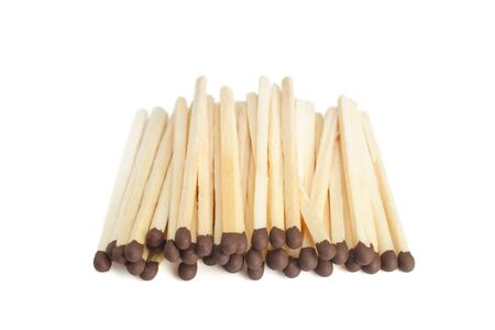 Heap of matches are isolated on a white background Stock Photo