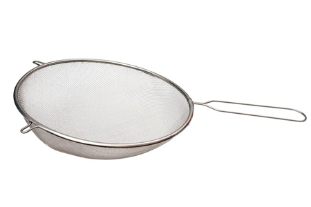 The colander from a metal grid is isolated on a white background