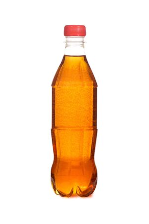 The bottle with the aerated drink is isolated on a white background