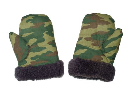 Fur mittens of camouflage color are isolated on a white background Stock Photo