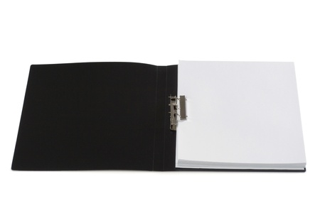 The black plastic folder for papers is isolated on a white background Stock Photo