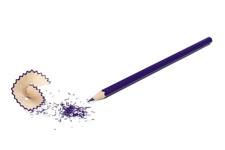 The undermined dark blue pencil and shaving  isolated on a white background