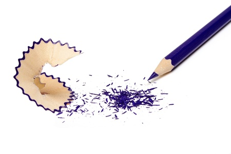 The undermined dark blue pencil and shaving isolated on a white background Stock Photo