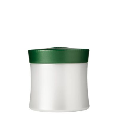 Jar with cosmetics on a white background