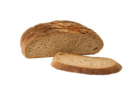 The cut rye bread is isolated on a white background Stock Photo