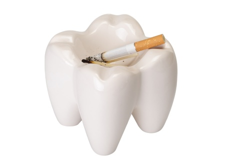 Ashtray in the form of a tooth with a stub on a white background