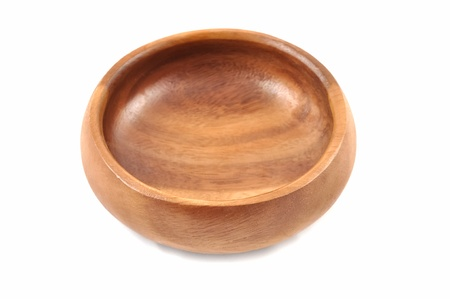 A wooden bowl on a white background Stock Photo - 11881325