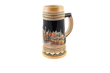 Ceramic mug for beer, decorated in ethnic style  photo