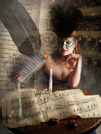 the girl in the mask, burning a music sheet