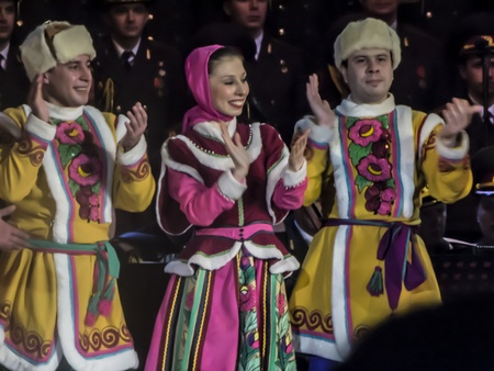 ensemble: Dance group of the Alexandrov Ensemble performs a dance, Moscow, March 6, 2013