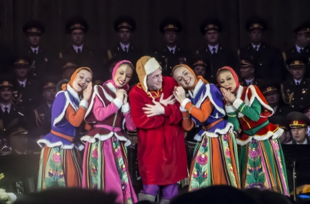 ensemble: Soloists of the Alexandrov Ensemble dancing in Concert March 6, 2013 in Moscow, in the hall of Alexandrov Ensemble