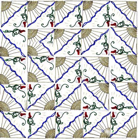 paganism: Pattern with sun pattern Stock Photo