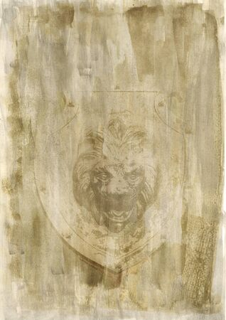 head paper: Beige art paper background with a lion head