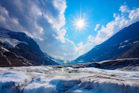 Columbia icefield glacier adventure, Canadian Rockies, Canada Stock Photo