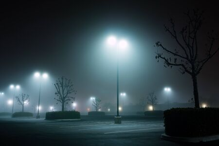 outside machines: foggy night parking lot-1