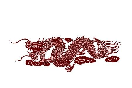 dragon rouge: Isol� dragon rouge sur fond blanc