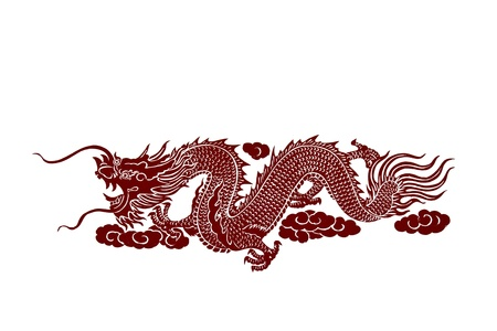 Isolated red dragon on white background