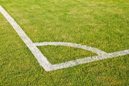Corner on football  soccer pitch with natural grass