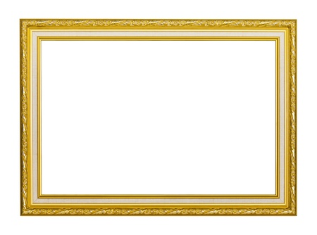 Rectangular golden picture frame isolated on white background Stock Photo
