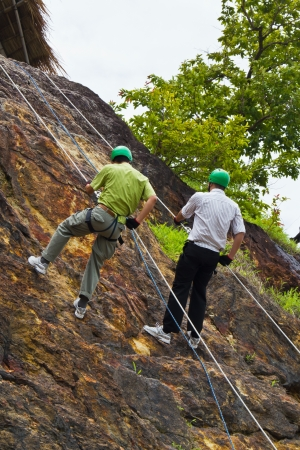 Cliff abseiling recreation in Nakorn Nayok, Thailand