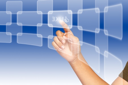 Hand, selecting of like button among various buttons Stock Photo - 10857106