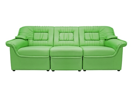 Green modern sofa isolated on white background, for office, home or hotel photo