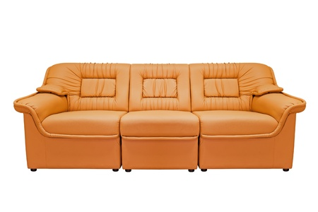 Orange modern sofa isolated on white background, for office, home or hotel photo