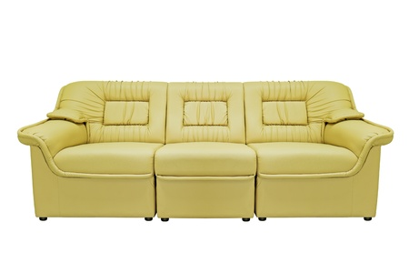 Yellow modern sofa isolated on white background, for office, home or hotel photo