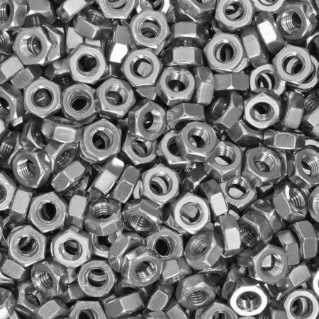 Pile of stainless steel nuts, a shop floor item Stock Photo - 11354154
