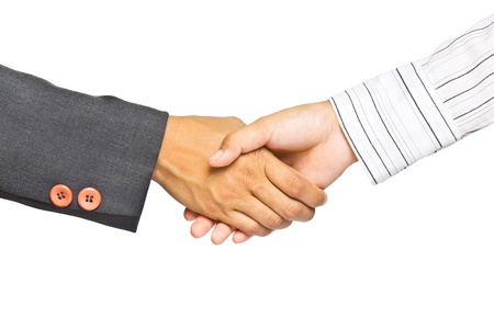 Business handshake isolated on white background, greeting or agreement concept Stock Photo - 11569915