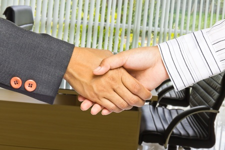 Business handshake on office background, greeting or agreement concept Stock Photo - 11569917