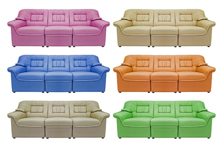 Modern sofa collection, isolated on white background, for office, home or hotel Stock Photo - 11569926