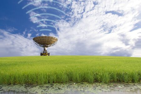 Satellite dish in the field, communication concept