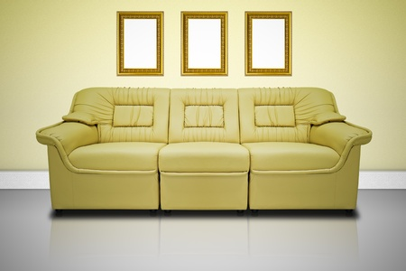 Yellow modern sofa  for office, home or hotel, vignetting edge photo