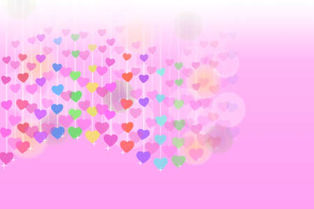 Love pink background with colorful hearts photo