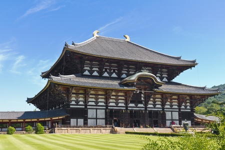 Todai-ji temple in Nara, Japan, the largest wooden building in the world, very famous place for tourists