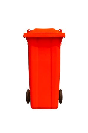 Large red trash can  garbage bin  with wheel, isolated on white background