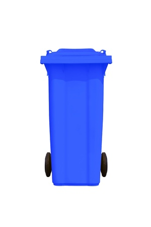 Large blue trash can  garbage bin  with wheel, isolated on white background photo